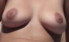 Stunning large breasts Nude on Beach