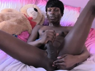 Ebony ts shemale stroking her black cock