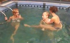 Three Irish teenies in the pool