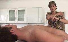 Big tits mature handjob with orgasm