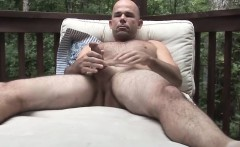 Fit and bald guy Patrick masturbates his fat white dick