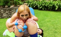 lesbian dolls stretch their deep anal holes and screw long d