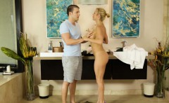 Busty blonde milf masseuse Alexis Fawx pounded real hard
