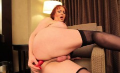 Redhead tranny fucked after using dildo