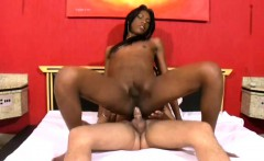 Ebony TS beauty rides white meat cowgirl style and cumshots