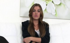 Shy tanned gal fucks for model job