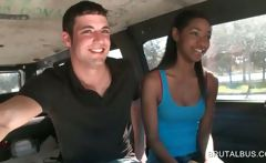 Ebony beauty talked into sex in the bus