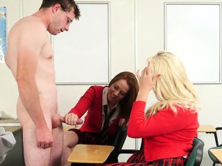 CFNM schoolgirls wanking teachers cock