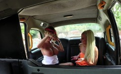 Female Fake Taxi Busty tattooed sexy lesbians fuck in cab