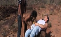 horny african slave gets double teamed outdoor