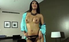 Wanking ladyboy spills cum all over herself