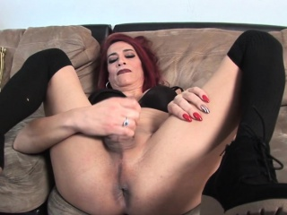 Mature casting redhead TS gets cum in mouth