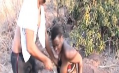 african slave enjoys blowing big dong outdoors