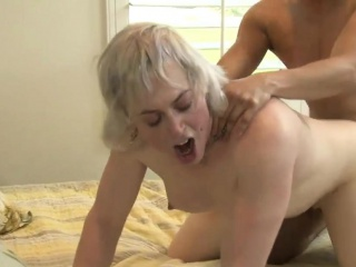 Nasty blonde shemale Miss Jane Starr gets her ass railed
