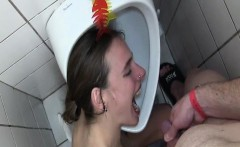 Fisting and pissing on teen toilet slave slut
