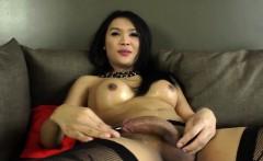 Masturbating ladyboy beauty drops huge load