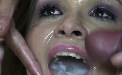 Premium Bukkake - Angela Swallows 69 Huge Mouthful Cum Loads