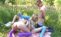 Precize amateur threesome in the outdoor