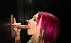 she helps guide cock 13 though the hole and starts to suck
