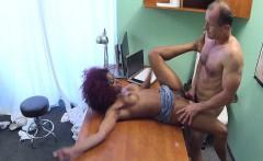 Ebony babe caught fucking doctor