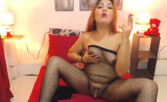 Sexy Shemale in Fishnets Wanks Her Hard Cock