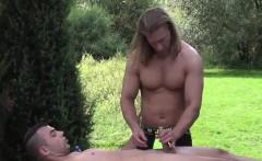 Muscular Blonde Massage Guy Trent Massaging Joel Vargas