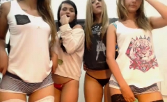 College lesbian teens lick pussy in amateur group sex