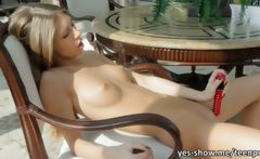 Adorable blonde teen fondling and dildoing her pink pussy