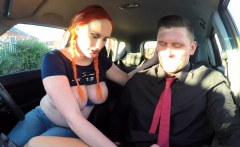 fake driving school examiner sprays cum over hairy pussy