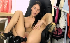 petite belle claire pussy stretching with brutal dildo