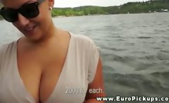 Basty boat slut needs some convincing to get her tits out