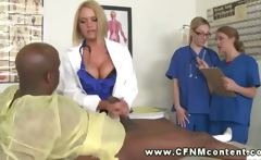 Female doctor demandes nurses to jerk