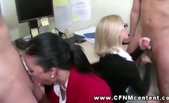 Horny babes sucking dick for subjects and really love it