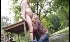 Teen Blonde Sucks Old Cock Outdoor