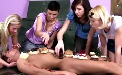 Young femdom babes humiliate subject with food