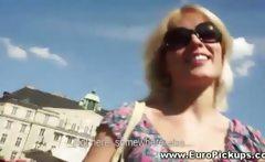 Blonde amateur gets cash offer on the streets