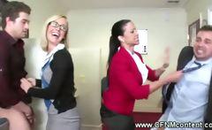CFNM office babes strip their interns