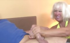 Granny welcomes guy wtih a handjob