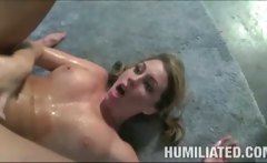 Blond squirts all over herself