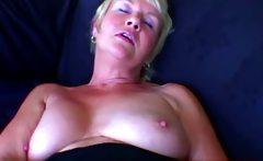 Big tits grandma toying pussy