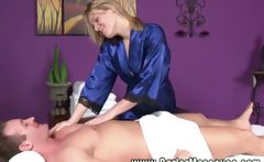 Blonde masseuse rubbing down her client and wants his cock