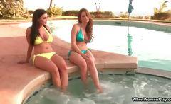 Busty brunette lesbians in bikini get