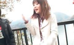 Cute shy Japanese girl flashing her tits