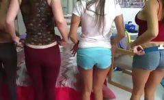 Two young college girls enjoying dicks