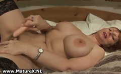 Big tits mature with black stockings