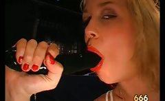 Dirty nasty blonde girl gets huge burst