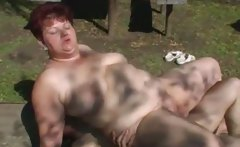 Fat mature woman get fucked by skinny young guy
