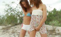 croatian teens toying on the beach