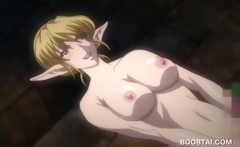 Naked hentai babe wrapped up and fucked by tentacles