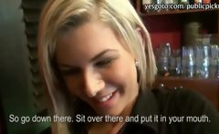 Blonde Czech girl Rihanna Samuel banged in the bar for money